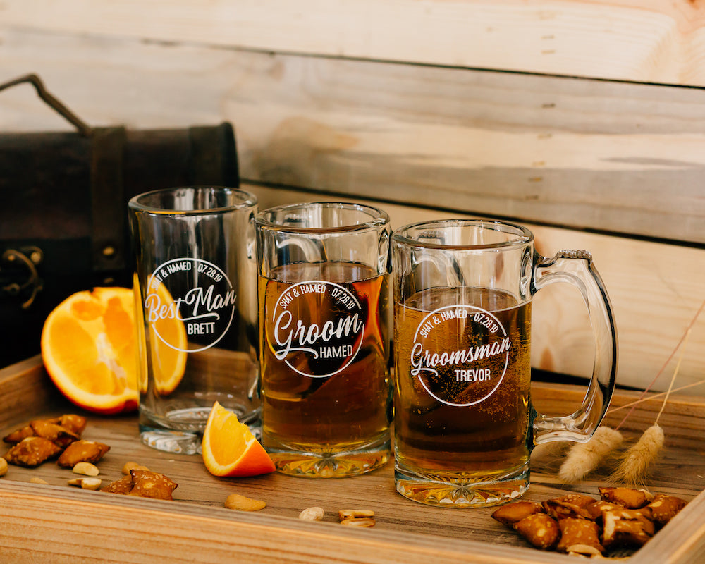 Set of 6 - Custom Engraved 12oz Beer Mug, Personalized Groomsmen Beer Glass