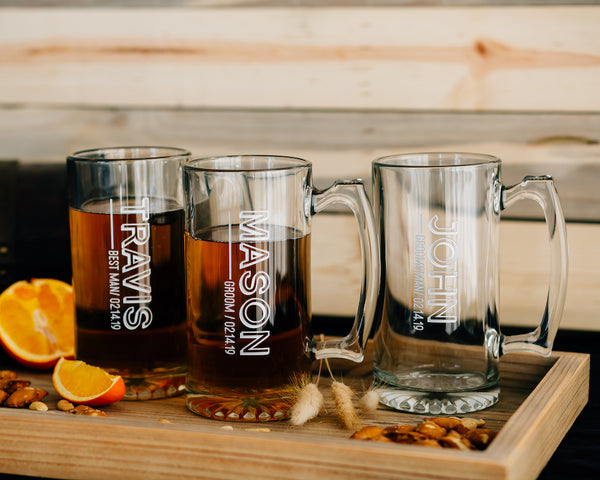 Personalized 25oz Beer Mug, Custom Groomsmen Beer Glass