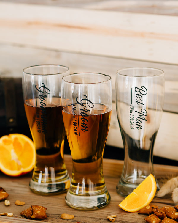 Set of 7 - Custom Engraved Hourglass Beer Pilsner, Personalized Groomsmen Beer Glasses