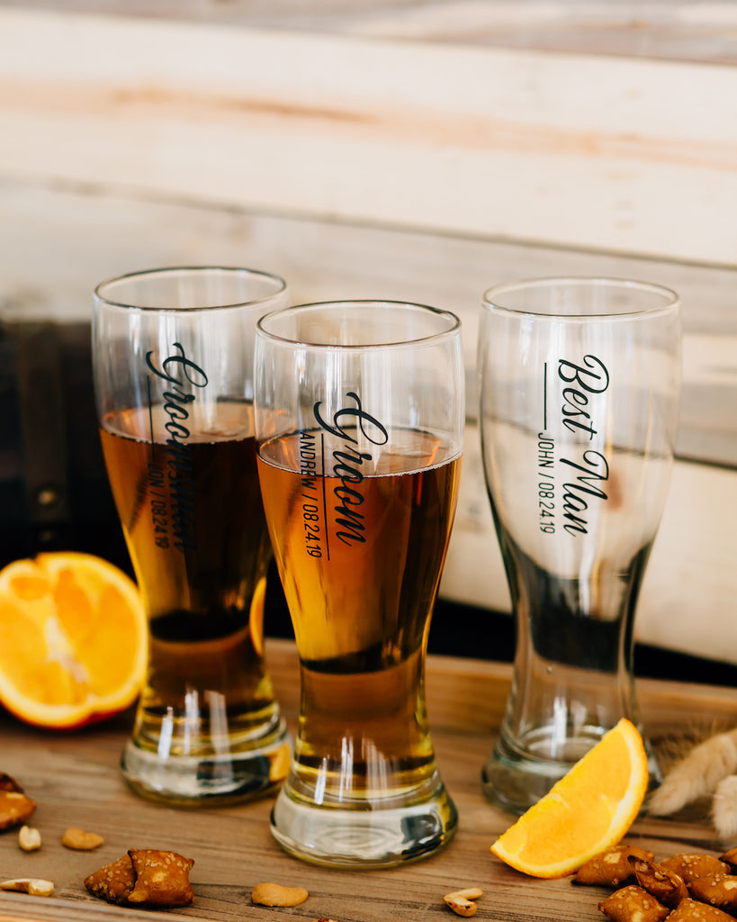 Set of 8 - Custom Engraved Hourglass Beer Pilsner, Personalized Groomsmen Beer Glasses