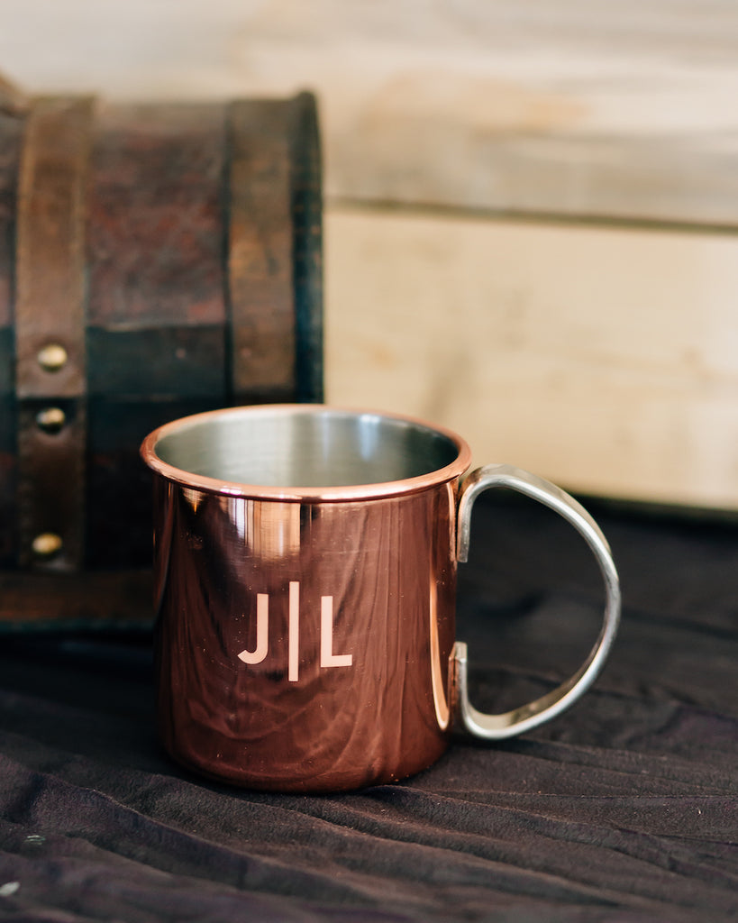 Set of 5 - Custom Engraved Copper Moscow Mule Mug, Groomsmen Gift - Burro Classic