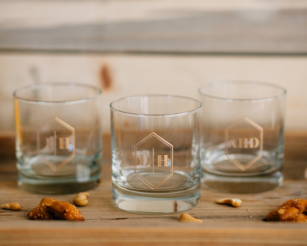 Set of 4 - Custom Engraved Whiskey Glass, Personalized Groomsmen DOF Glass