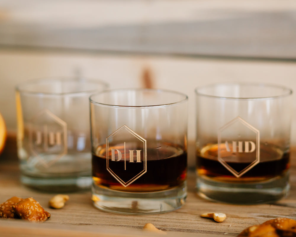 Set of 7 - Custom Engraved Whiskey Glass, Personalized Groomsmen DOF Glass