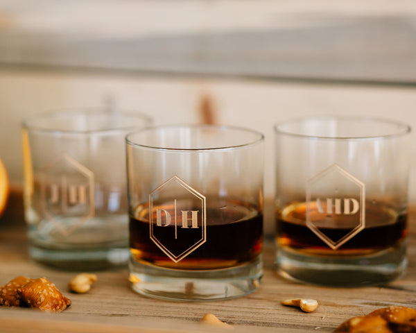 Set of 3 - Custom Engraved Whiskey Glass, Personalized Groomsmen DOF Glass