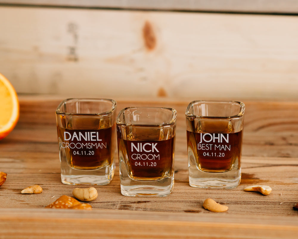Set of 7 - Custom Engraved Square Shot Glass, Personalized Groomsmen Shot Glass