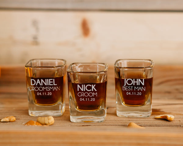 Set of 3 -Custom Engraved Square Shot Glass, Personalized Groomsmen Shot Glass
