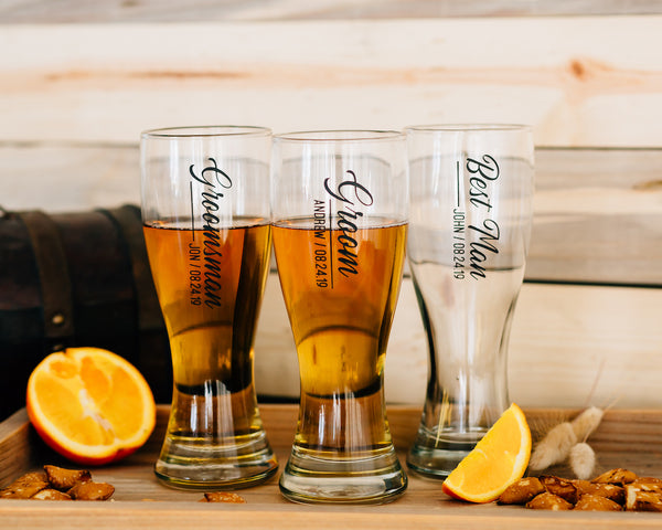 Set of 3 -Custom Engraved Hourglass Beer Pilsner, Personalized Groomsmen Beer Glasses