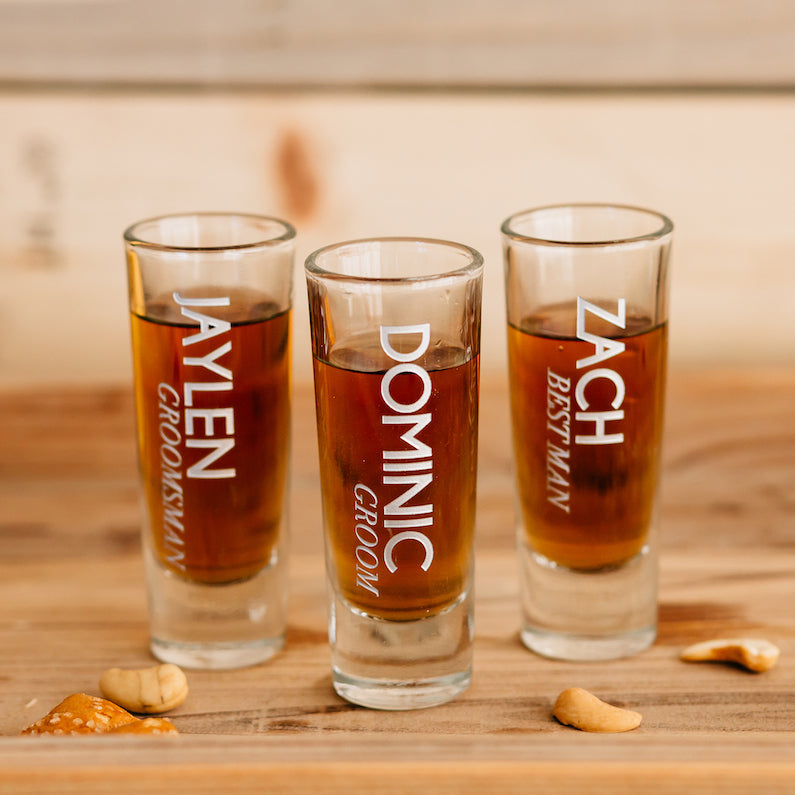 His and her gifts Custom engraved 2oz thick and heavy Whiskey style shot glass set of 8 Bridesmaid gift Groomsman or Best Man gifts 8 Personalized Shot glasses