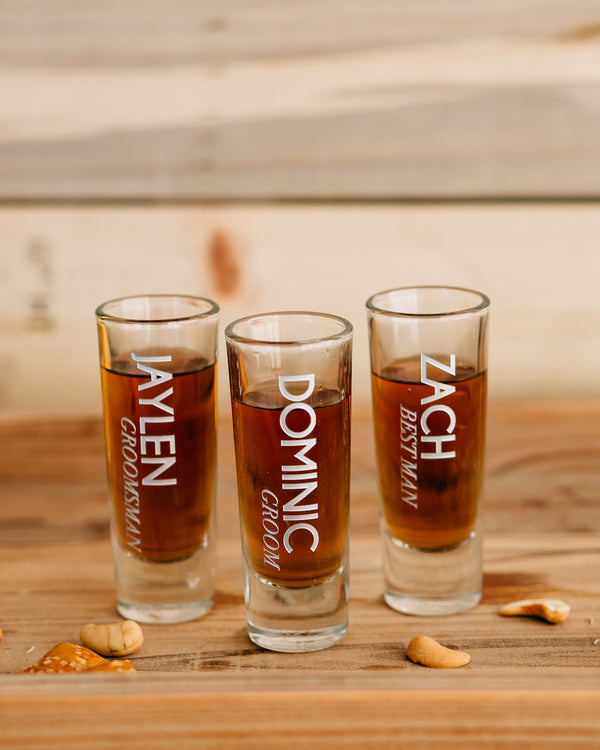 Set of 4 - Custom Engraved Shooter Shot Glass, Personalized Groomsmen Shot Glass