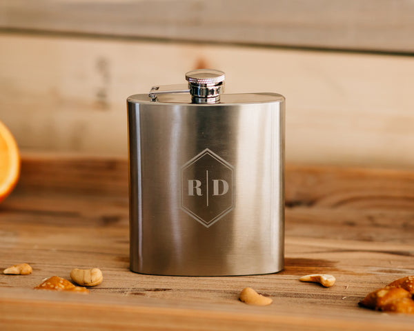 Set of 8 - Custom Engraved Flask, Brushed Stainless Steel Groomsmen Flask