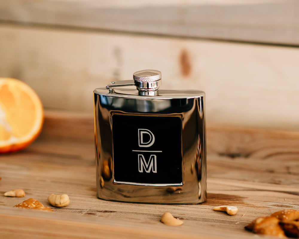 Custom Engraved Flask with Black Center Groomsmen Flask