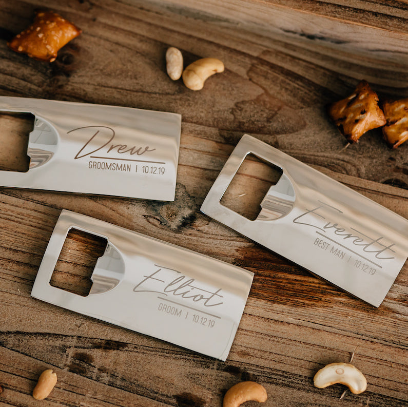 Set of 5 - Custom Engraved Bottle Opener, Personalized Groomsmen Bottle Opener