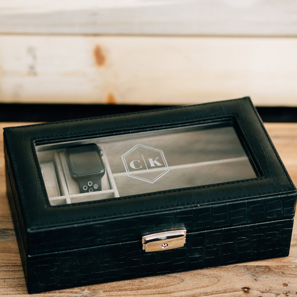 Custom Engraved Watch Valet Box, Personalized Watch Box