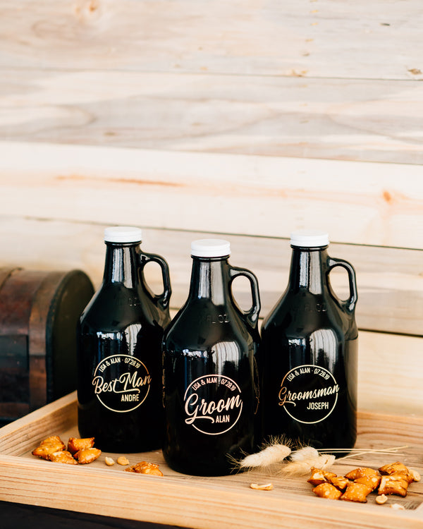 Custom Engraved Beer Growler, Groomsmen Beer Growler 32oz