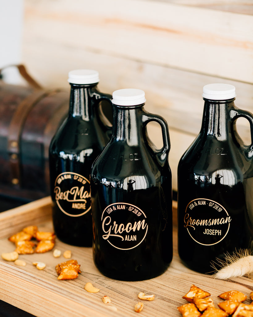 Set of 5 - Custom Engraved Beer Growler, Groomsmen Beer Growler 32oz