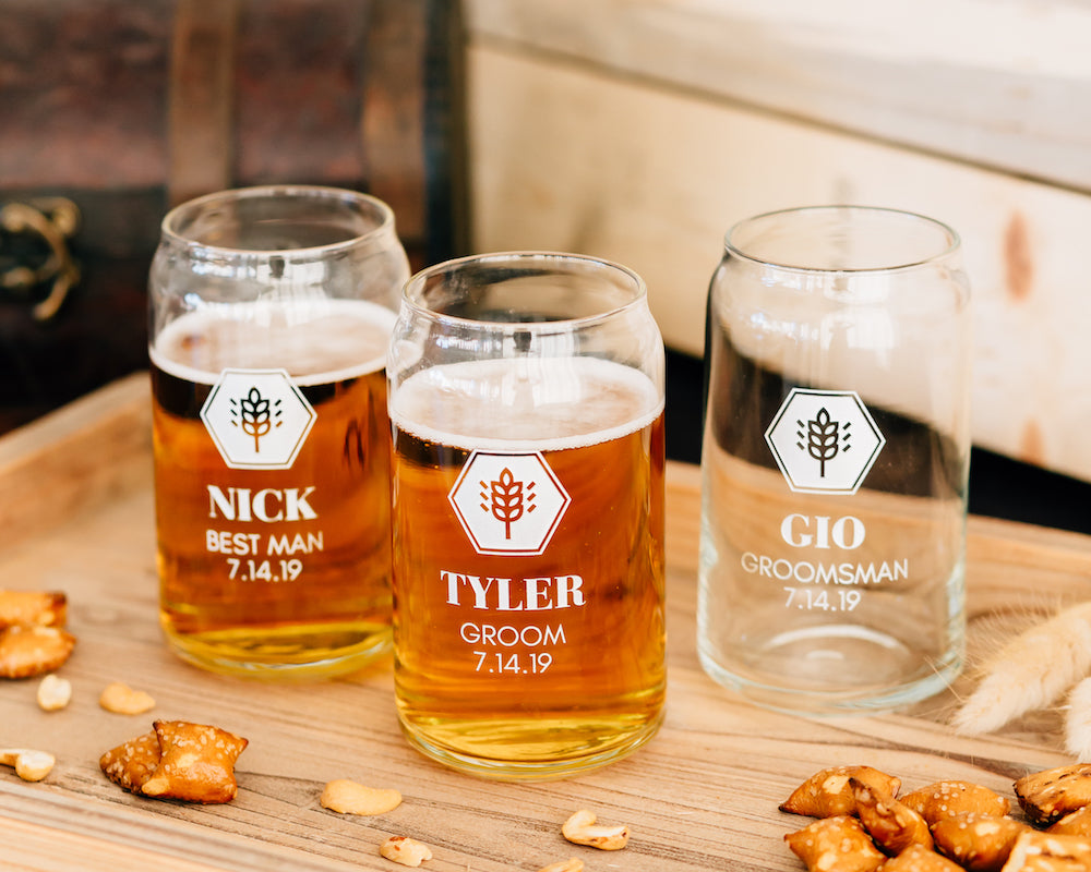 Set of 3 - Custom Engraved Beer Can Glass, Groomsmen Beer Glass
