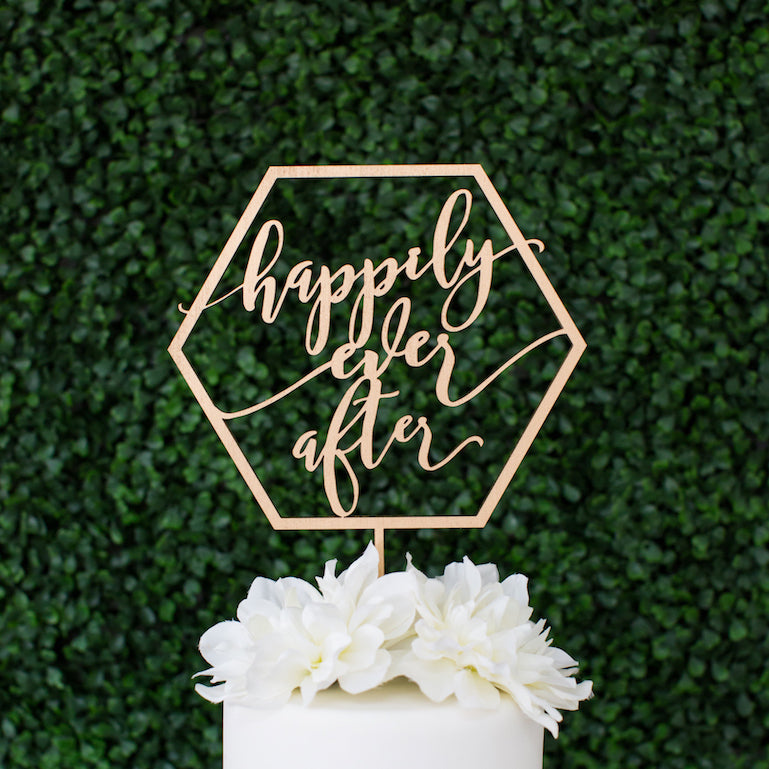 Geometric Happily Ever After Cake Topper, Wood (6
