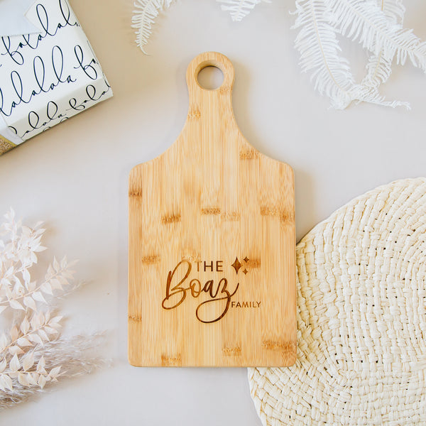 Darling Sparkle Custom Engraved Paddle Bamboo Cutting Board