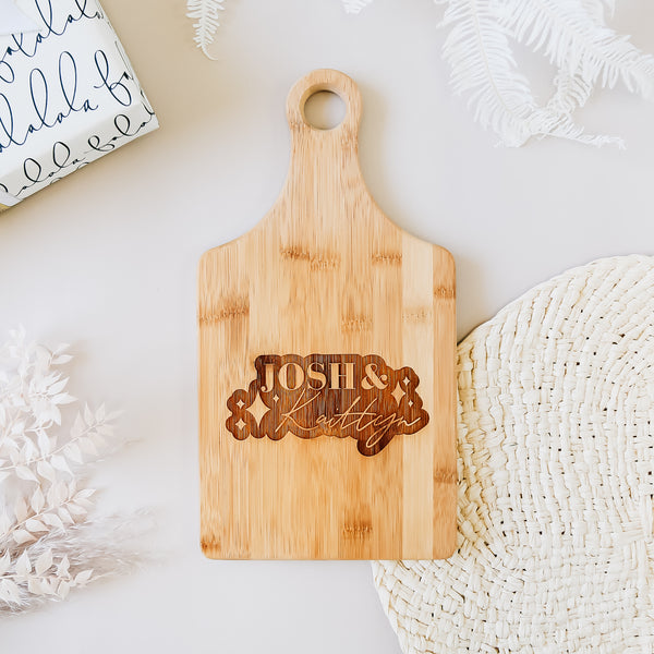 Sparkle Engraved Paddle Bamboo Cutting Board