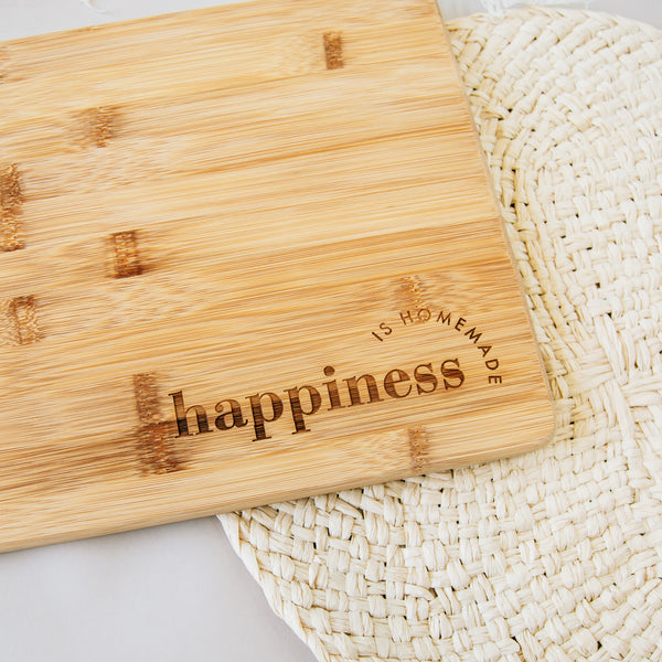 Happiness is Homemade Engraved Rectangle Bamboo Cutting Board