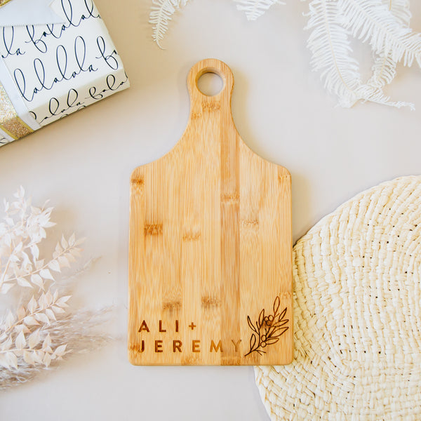 Minimal First Names Custom Engraved Paddle Bamboo Cutting Board