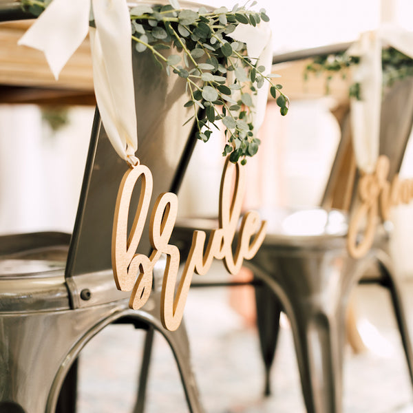 Trendy Bride & Groom Chair Signs, Wood