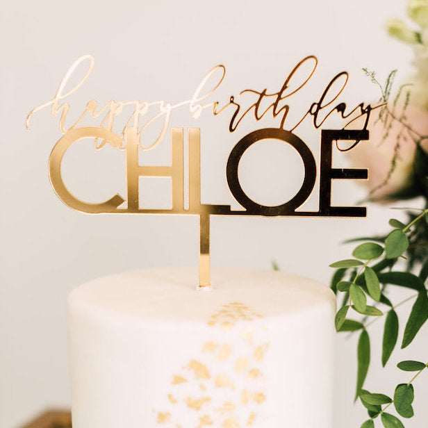 8 Custom Elegant Birthday Cake Topper Acrylic