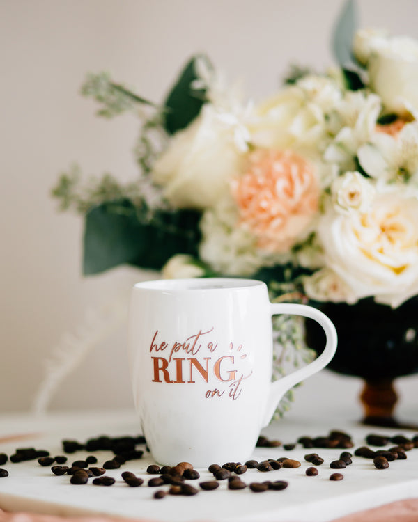 He Put a Ring on It Engraved Coffee Mug, White Porcelain