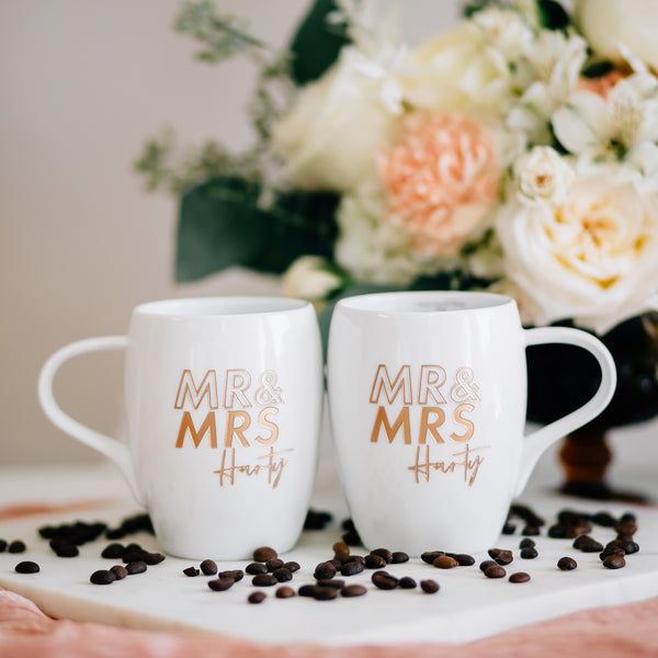Mr & Mrs Custom Outline Engraved Coffee Mugs, White Porcelain - Set of 2