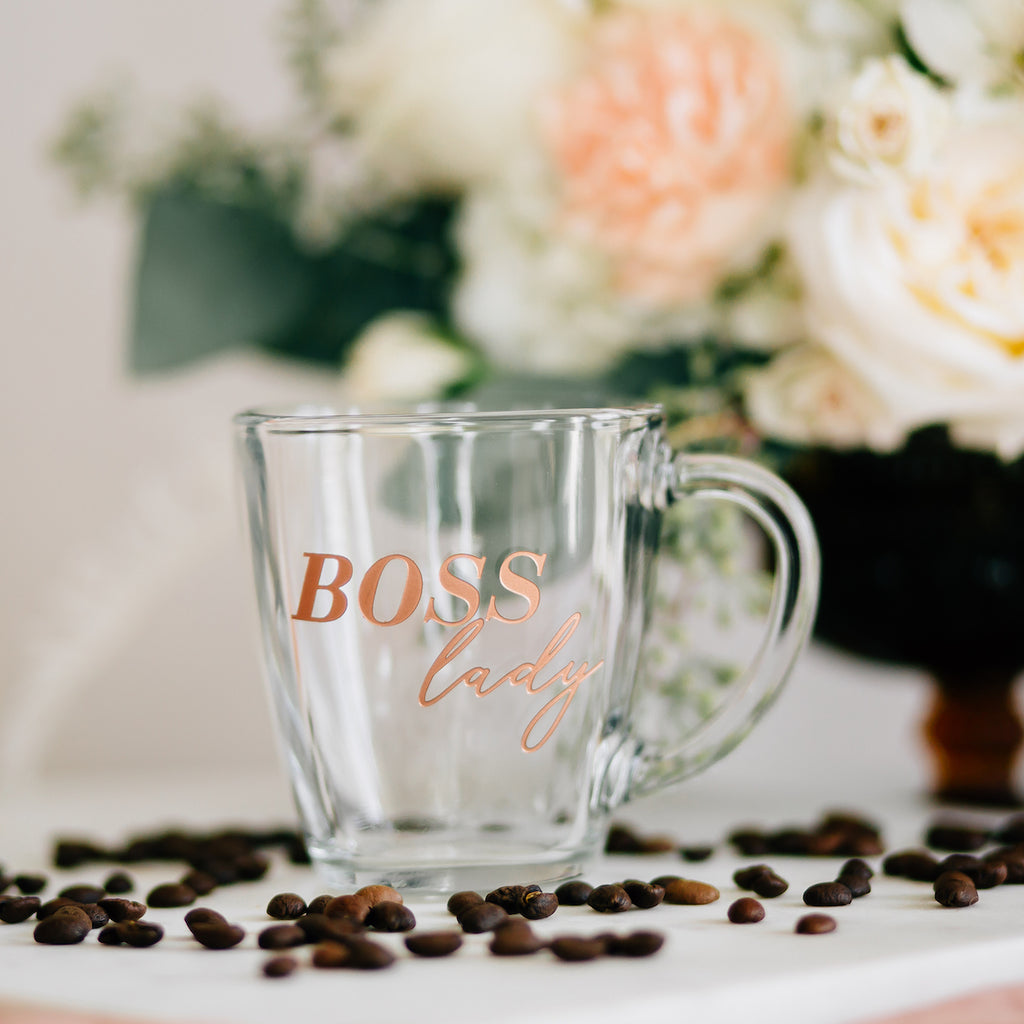 Boss Lady Coffee Mug, Engraved Tempo Square Glass
