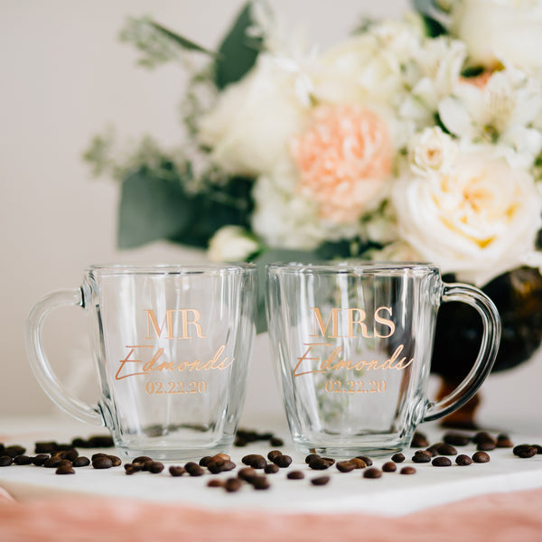 Custom Mr & Mrs Wedding Coffee Mug Set, Engraved Tempo Square Glass