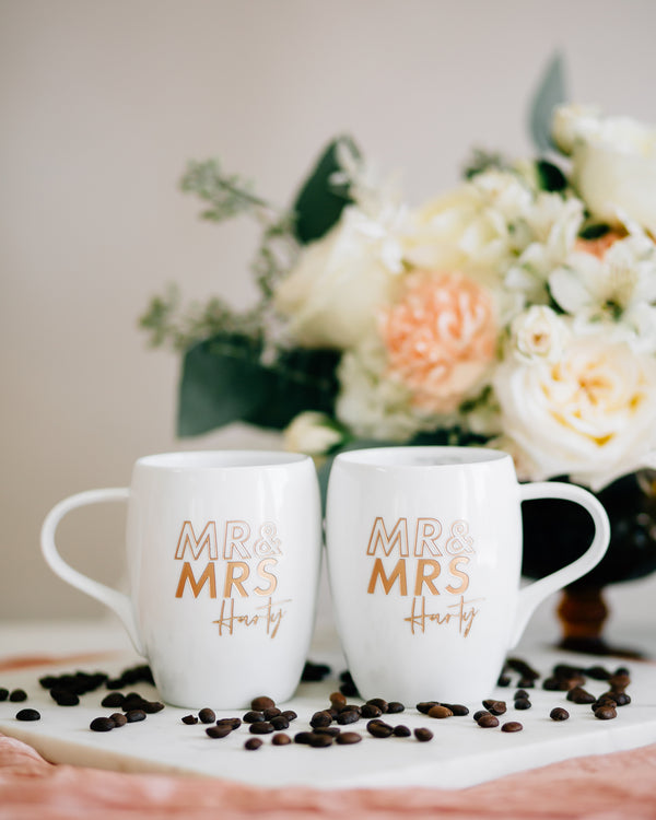 Modern Outline Mr & Mrs Custom Engraved Coffee Mugs, White Porcelain - Set of 2