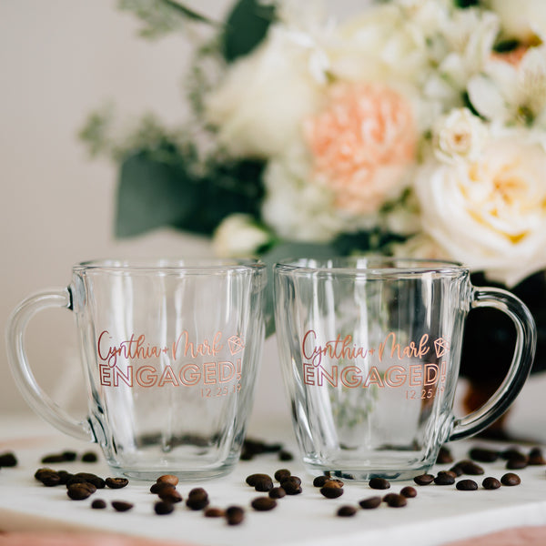 Happily Engaged Custom Coffee Mugs, Engraved Tempo Square Glass - Set of 2