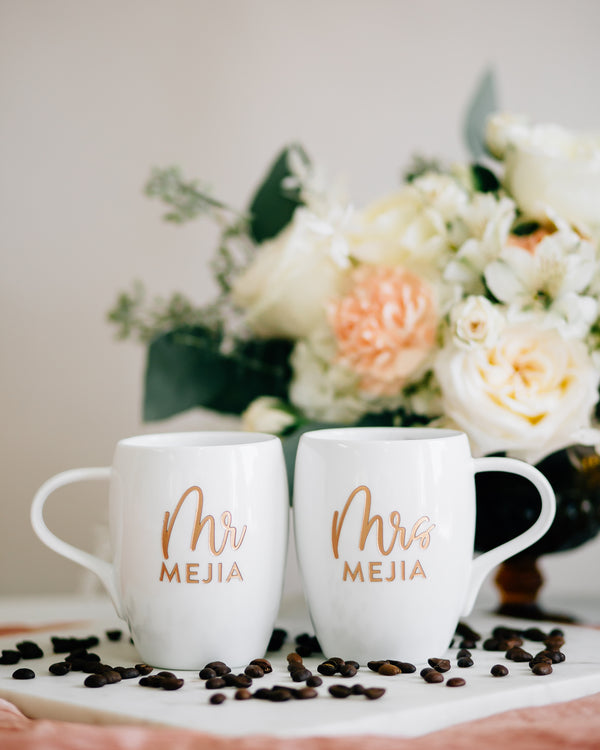 Darling Mr & Mrs Custom Engraved Coffee Mugs, White Porcelain - Set of 2