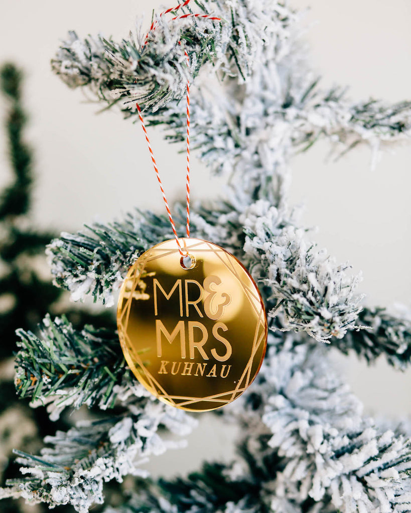 Shimmer Round Custom Mr & Mrs Christmas Ornament, Acrylic or Wood