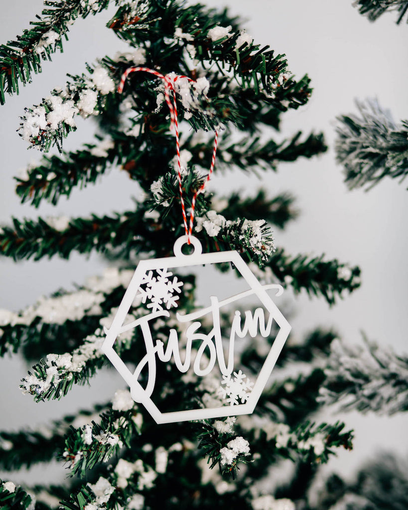 Snowflake Custom Name Christmas Ornament, Acrylic or Wood