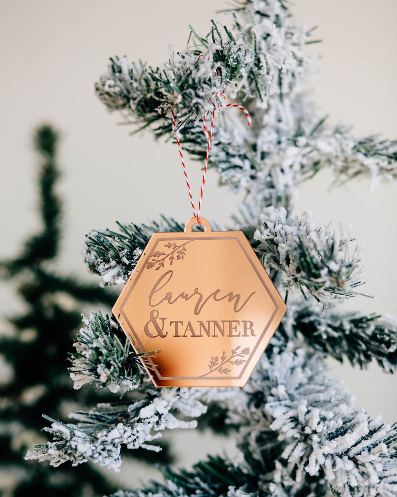 Elegant Geometric Custom Christmas Ornament, Acrylic or Wood