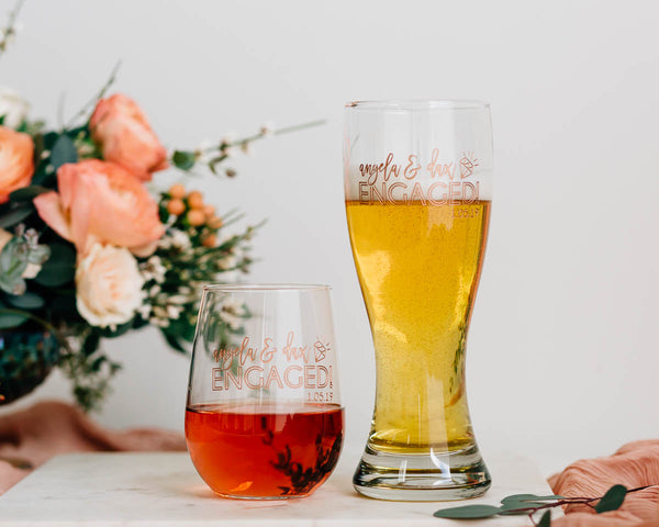 Just Engaged Custom Engraved Beer & Stemless Wine Glass Set