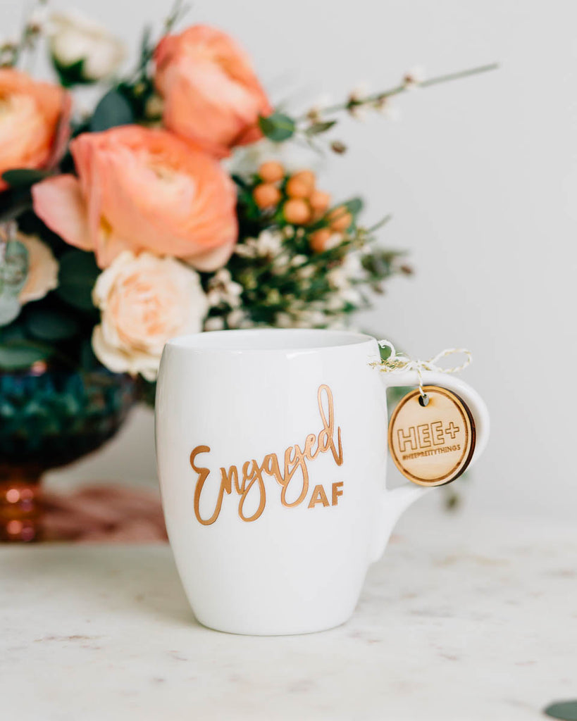 Engaged AF Coffee Mug, Engraved White Porcelain