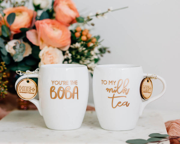 You're the Boba to my Milk Tea Coffee Mug Set, Engraved White Porcelain