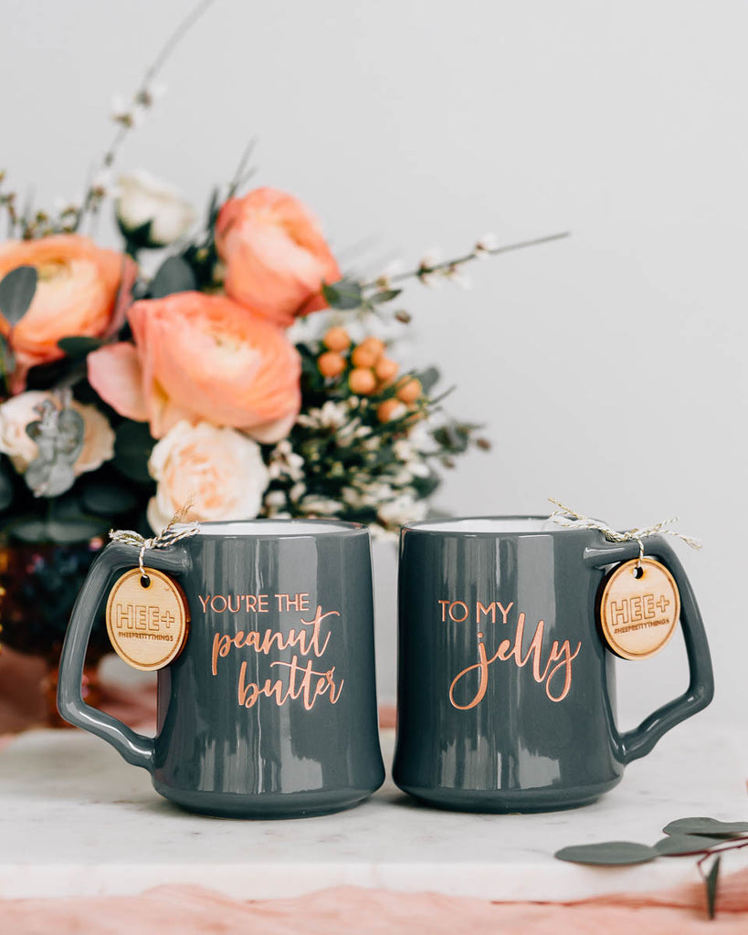 You're the Peanut Butter to My Jelly Coffee Mug Set, Engraved Porcelain - Slate