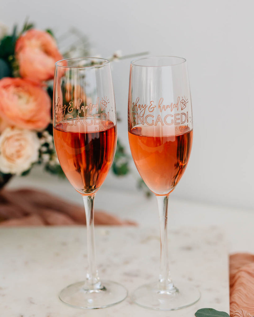 Just Engaged Custom Engraved Champagne Flute Pair