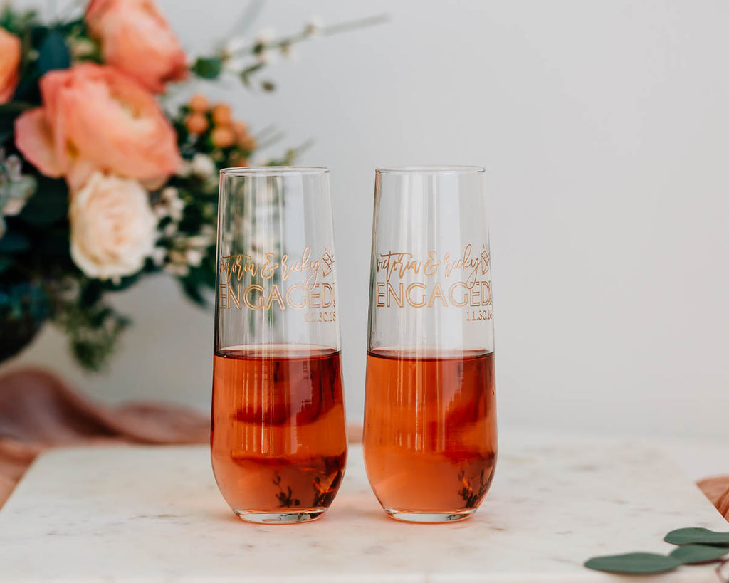 Just Engaged Custom Engraved Stemless Champagne Flute Pair