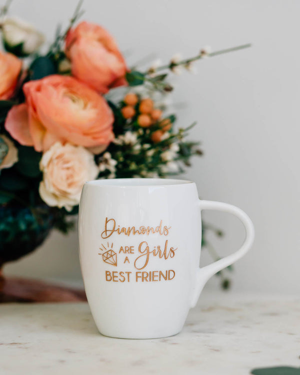 Diamonds are a Girls Best Friend Coffee Mug, Engraved White Porcelain