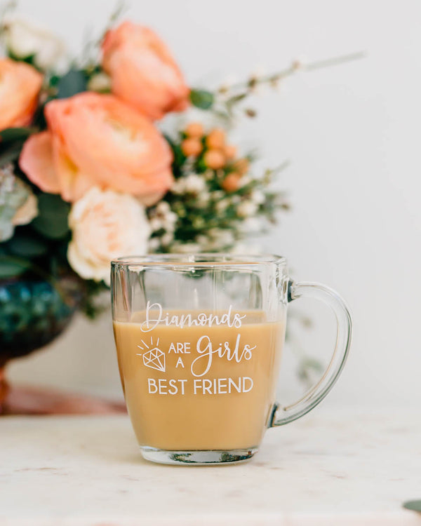 Diamonds are a Girls Best Friend Coffee Mug, Engraved Tempo Square Glass