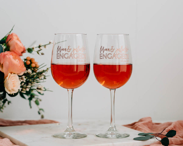 Just Engaged Custom Engraved Wine Glass Pair