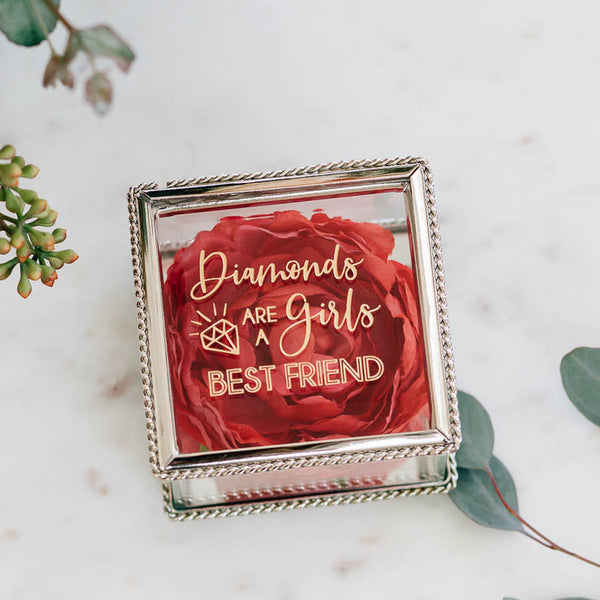 Diamonds are a Girls Best Friend Engraved Glass Jewelry Box