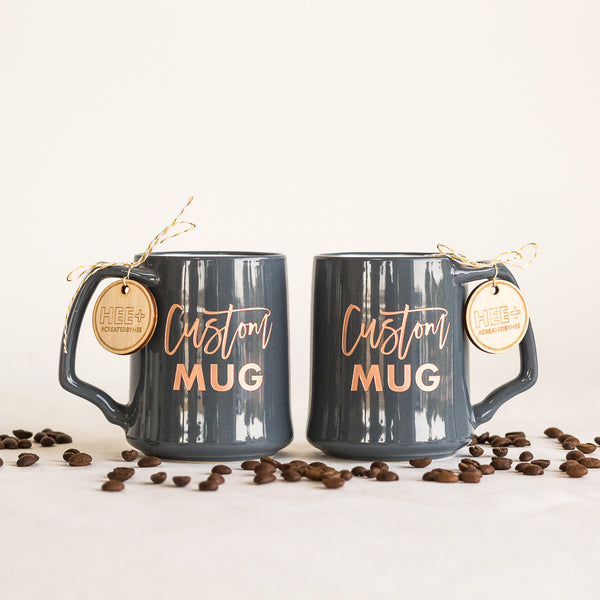 Custom Coffee Mugs, Engraved Porcelain - Slate, Set of 2