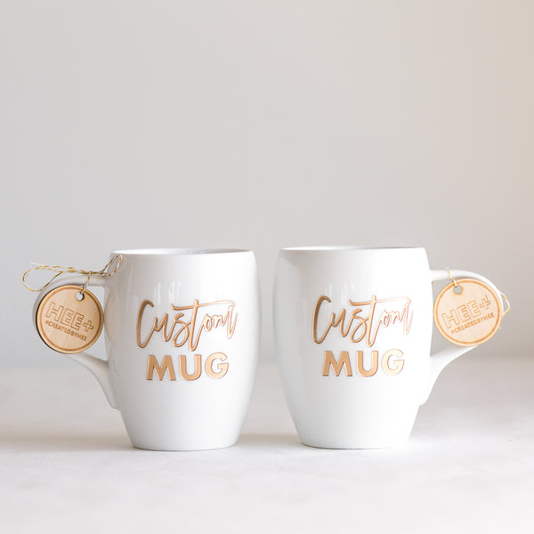 Custom Coffee Mugs, Engraved White Porcelain - Set of 2