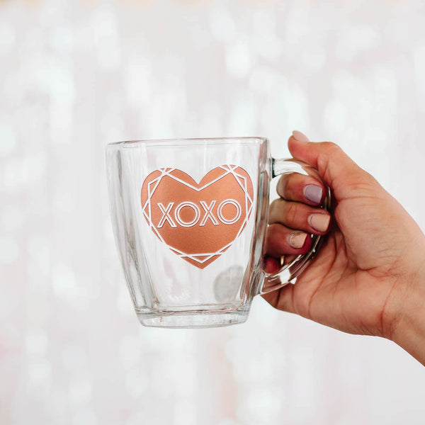 XOXO Heart Coffee Mug, Engraved Tempo Square Glass